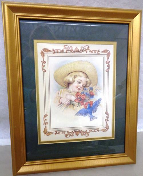 Framed Print of Little Girl and Bluebird