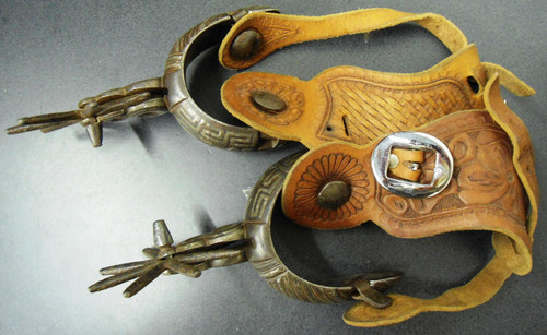 Mexican Iron Spurs - Pair - w/Carved Leather Straps