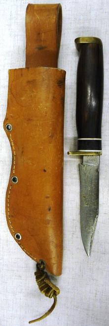 Custom Handmade Wood & Brass Handled Hunting Knife w/Sheath