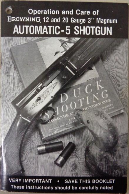 Browning 12 and 20 Gauge Automatic-5 Shotgun User Manual