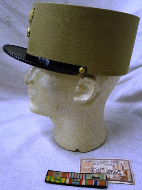 French Foreign Legion Indochina Period Kepi w/Hat Badge, Ribbon Bar, & Currency