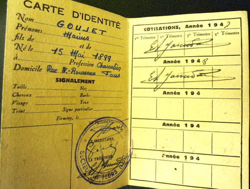French Post-WWII FFI Identification Card
