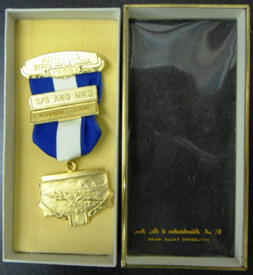 Arizona State Rifle Assn. 1958 Winning Team Medal w/Box