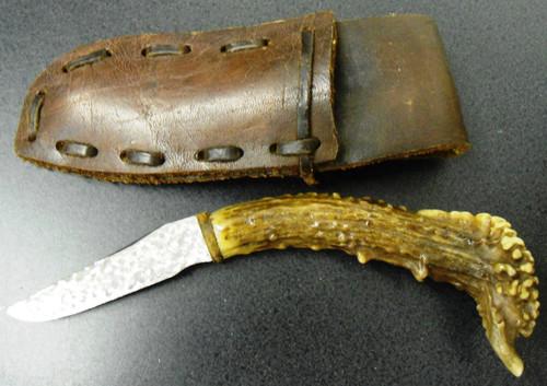 Antler Handled Hunting/Skinning Knife w/Sheath