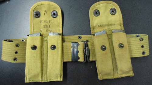 U.S. WWI Mills Web Pistol Belt w/2 Double Magazine Pouches