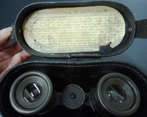 German WWI 08 Field Glasses w/Case & Instructions