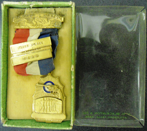 El Paso Pistol Club 1940 First Place National Match Course Medal w/Box