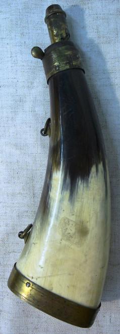 "Flattened Horn Powder Flask - 8"""