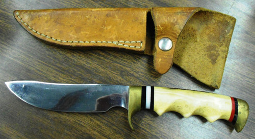 "Custom Made Hunting Knife marked ""Hal Cain"" by Geo. w/Sheath"