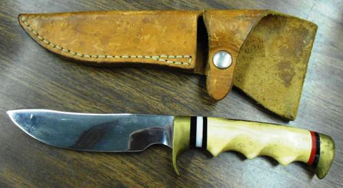 "Custom Made Hunting Knife marked ""Hal Cain"" by Geo. w/Sheath"