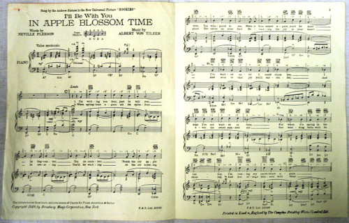 "British WWII ""I'll Be With You in Apple Blossom Time"" Sheet Music"