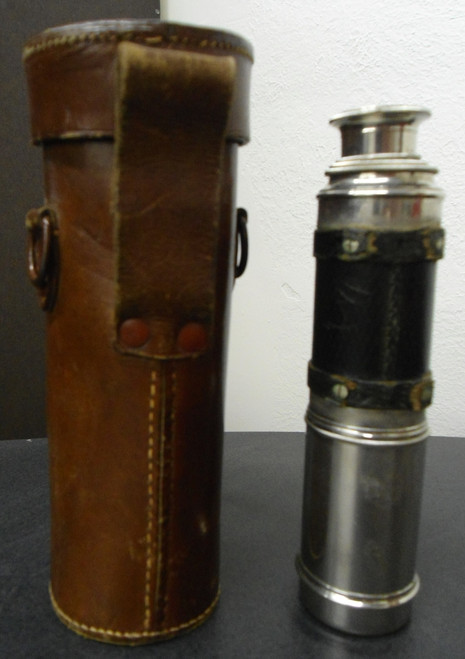 Unmarked Chromed Telescope with Leather Case