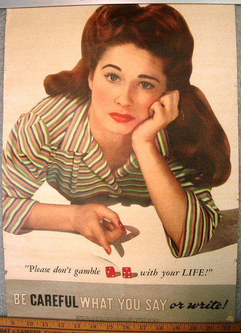 Don't Gamble with Your Life WWII Poster