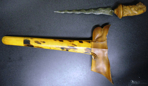 Malaysian Kris Knife with Wooden Scabbard