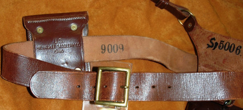 U.S. Post-War Leather Holster, Belt, Strap, and Mag Pouch 1946