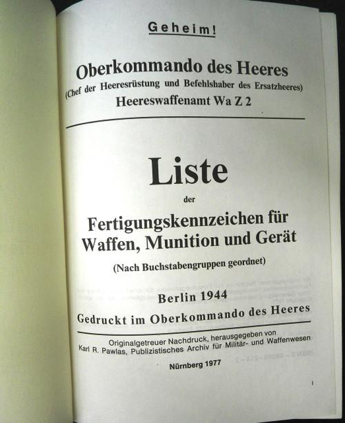 Liste der Fertigungskennzeichen fur Waffen, Munition und Gerat