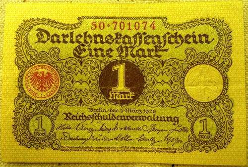 German Pre-WWII 1 Fine Mark Paper Currency
