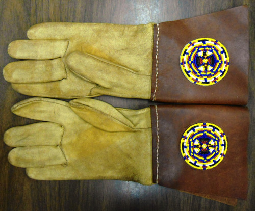 Geier Deerskin Gloves with Beaded Rosettes