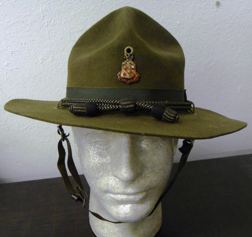 U.S. Campaign Hat w/Officer's Cord, Chin Strap, & 11th Regt Badge