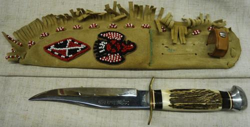 American Knife Co. Original Bowie Knife w/Beaded Sheath