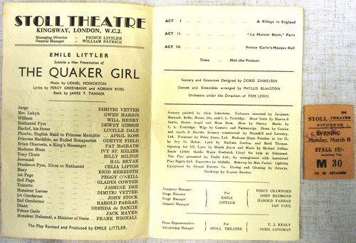 British WWII Stoll Theatre Program and Ticket