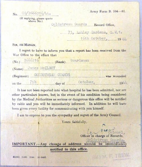 British WWII Injured Soldier Letter