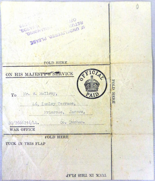 British WWII Injured Soldier Letter