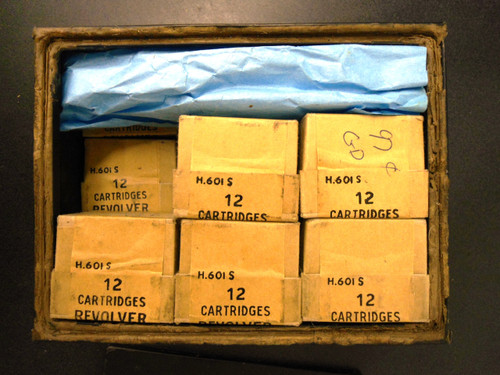 Canadian .45 Revolver Cartridge Tin and 14 Boxes of Ammo