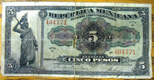 Republica Mexicana Cinco Pesos Bank Note circa 1915