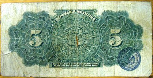 Republica Mexicana Cinco Pesos Bank Note circa 1915