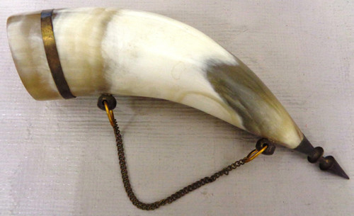 """6-1/2"""" Powder Horn Flask made in U.S.S.R."""