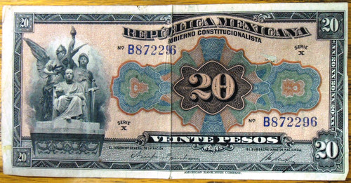 Republica Mexicana Veinte Pesos Bank Note circa 1915