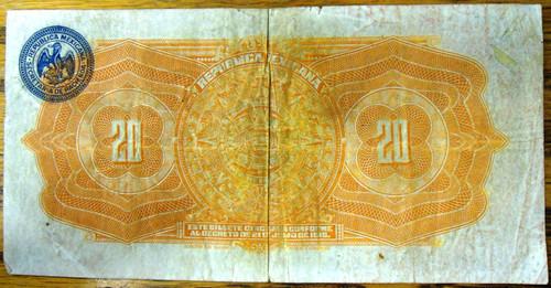 Republica Mexicana Veinte Pesos Bank Note circa 1915