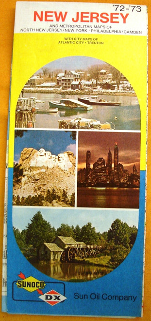 Sunoco - DX - Sun Oil Company New Jersey Road Map 1973