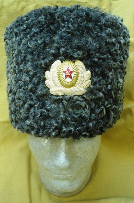 Russian Persian Lamb Officer's Hat - Grey - w/Hat Badge