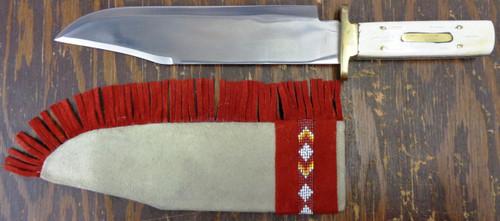 Unmarked Bowie Knife w/Bone Handle & Beaded Sheath