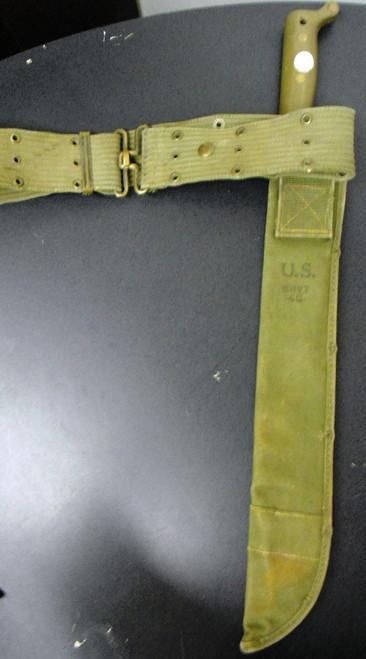 U.S. WWII True Temper Machete with Boyt Canvas Sheath & Web Belt