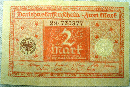 German Pre-WWII 2 (Zwei) Mark Paper Currency