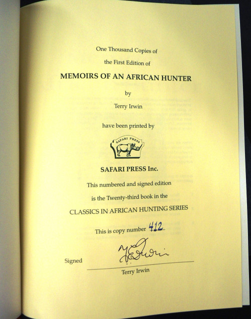 Memoirs of an African Hunter by Terry Irwin *SIGNED*