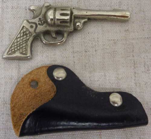 Keychain Navy/Maritime Metal Gun with Anchor Stamp and Leather Holster