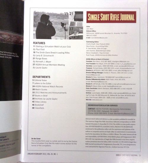 Single Shot Rifle Journal Vol. 65 No. 1 January/February 2012
