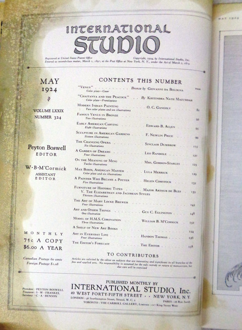 International Studios Magazine Volume 79 Number 324 May 1924