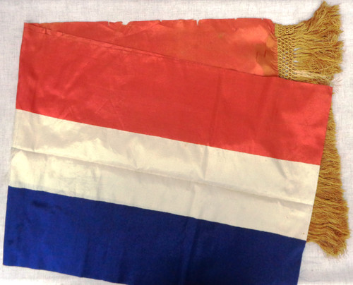 French WWII Silk Patriotic Banner with Gold Fringe