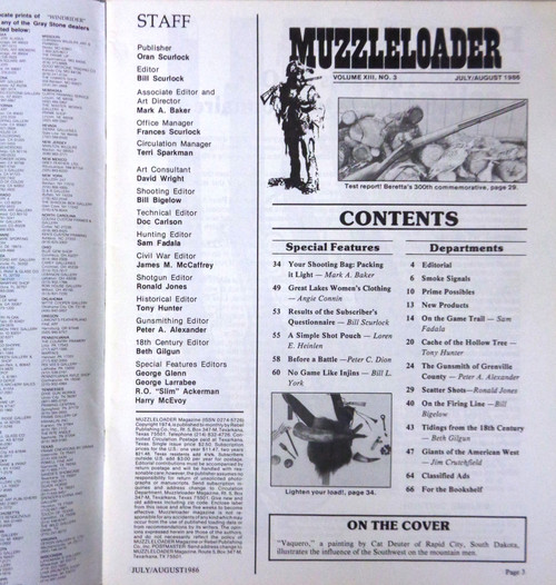 Muzzleloader Vol. 13 No. 3 July/August 1986