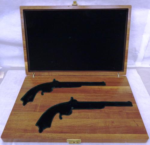 Solid Wood Antique Target Pistols Formed Presentation Case with Key