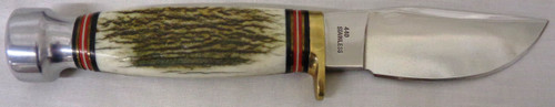 Steel Warrior Stag Handled Hunting Knife with Canvas Sheath and Tin