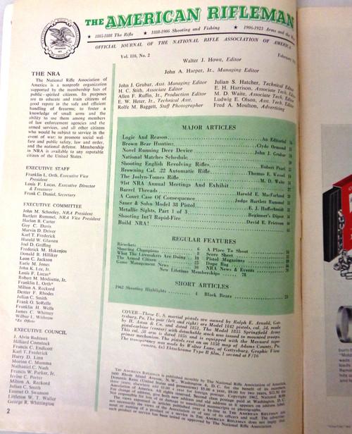 The American Rifleman Magazine 1962 - February