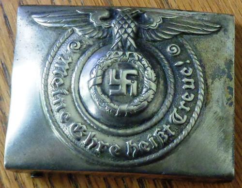 German WWII SS EM Nickel Belt Buckle