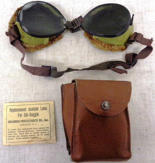 U.S. WWII Mountain Troops Ski Goggles with Case and Replacement Lens'