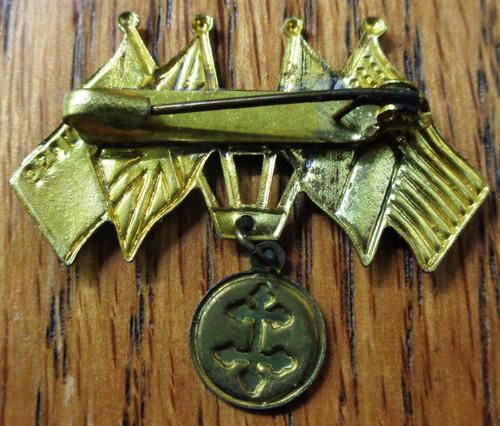 French WWII FFI Allies Friendship Pin
